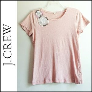 J Crew Blush Pink Embroidered Flower Tshirt